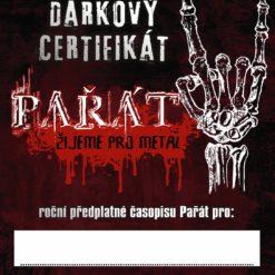 DÁRKOVÝ CERTIFIKÁT PAŘÁTU NA ROK 2018
